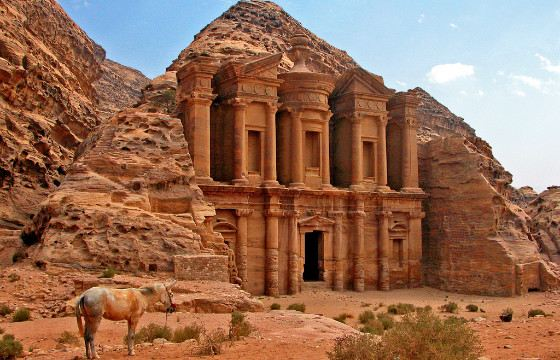 Petra is located in the narrow Siq canyon.