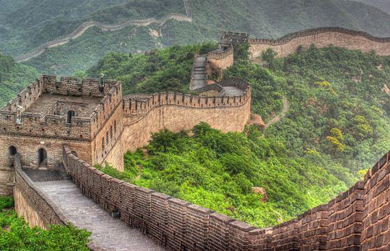Великая китайская стена вида из космоса